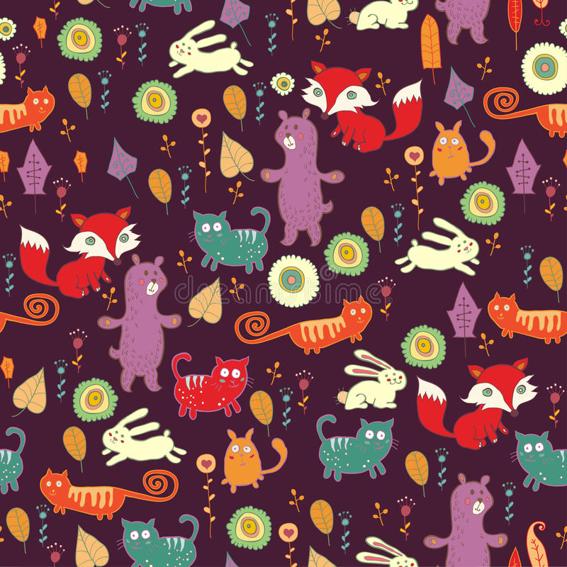Het bos naadloze patroon van de herfst stock illustratie