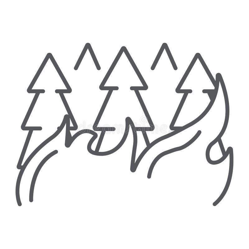 Het bos op pictogram, de brandwond en de ramp van de brand het dunne lijn, brandende bomen ondertekent, vectorafbeeldingen, een l royalty-vrije illustratie