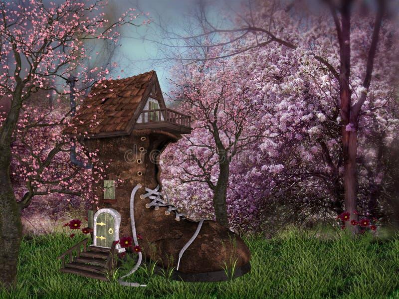 Het Bos van de fantasie met schoenhuis stock afbeeldingen