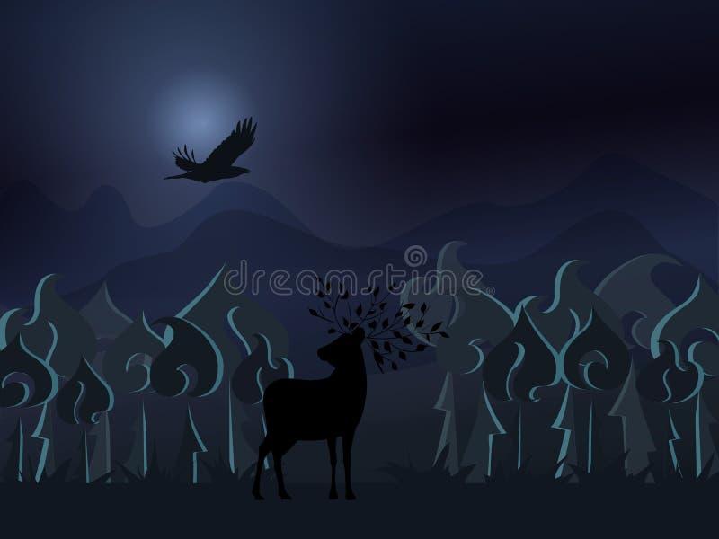 Het bos van de fantasienacht met een hert en een vogel die in de nachthemel vliegen stock illustratie