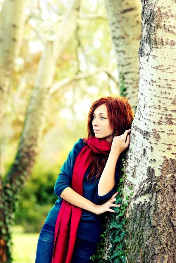 Het bos van de herfst met vrouw stock afbeeldingen