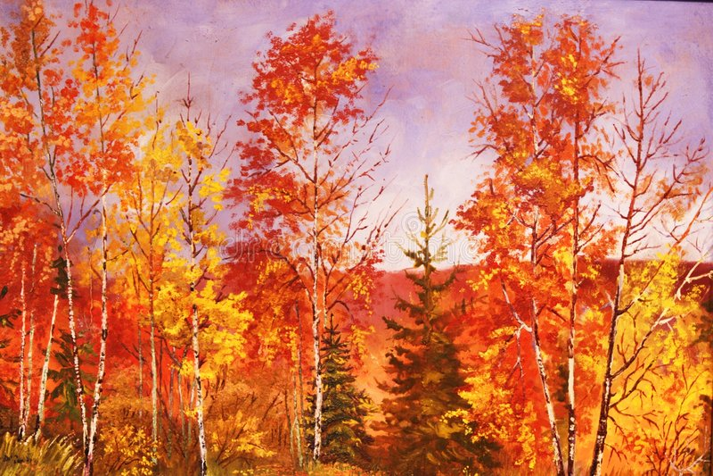 Het bos van de herfst, olieverfschilderij. royalty-vrije stock foto's
