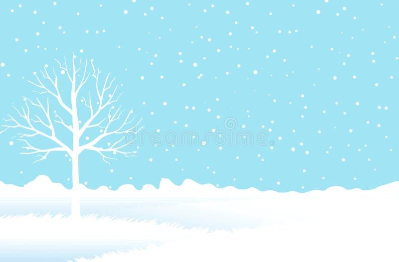 Het bos van de sneeuwwinter op blauwe achtergrond stock afbeelding