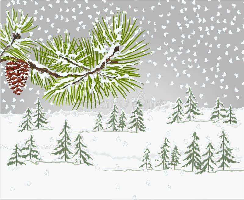 Het bos van het de winterlandschap en de pijnboom vertakken zich en denneappel de sneeuw vectorillustratie natuurlijke als achter royalty-vrije illustratie