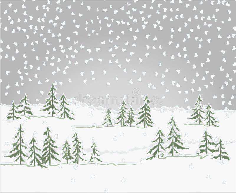Het bos van het de winterlandschap met het thema van sneeuwkerstmis uitstekende vector editable illustratie natuurlijke als achte stock illustratie
