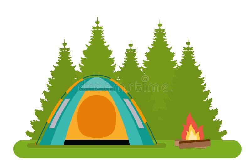 Het boskamp De tent met een kampvuur in een bos stock illustratie