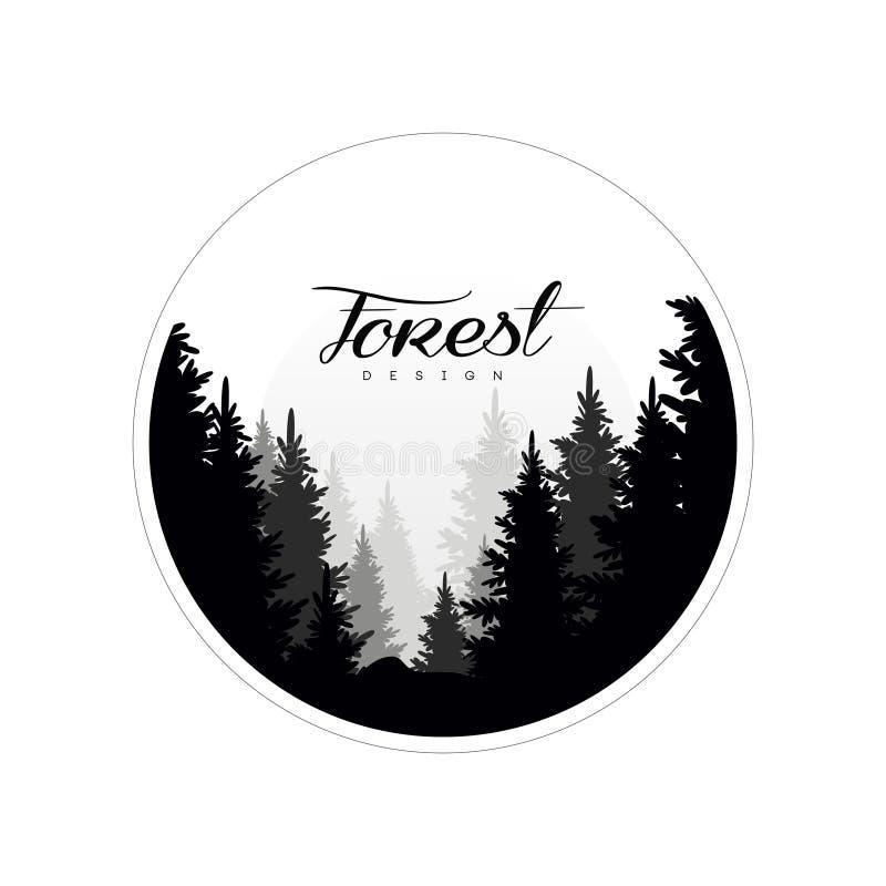 Het bosmalplaatje van het embleemontwerp, mooi aardlandschap met silhouetten van bos natuurlijke naaldbomen in mist, vector illustratie