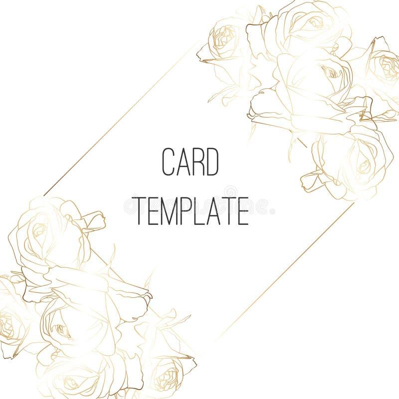Het botanische ontwerp van het de kaartmalplaatje van de huwelijksuitnodiging, Gouden rozen bloeit samenstellingen met gouden kad royalty-vrije illustratie