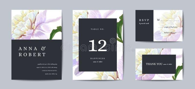 Het botanische Ontwerp van het de kaartmalplaatje van de huwelijksuitnodiging, pioen bloeit in modern, Inzameling van sparen de d vector illustratie