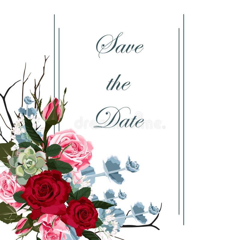 Het botanische ontwerp van het de kaartmalplaatje van de huwelijksuitnodiging, rode roze rozen bloeit samenstelling met kader vector illustratie