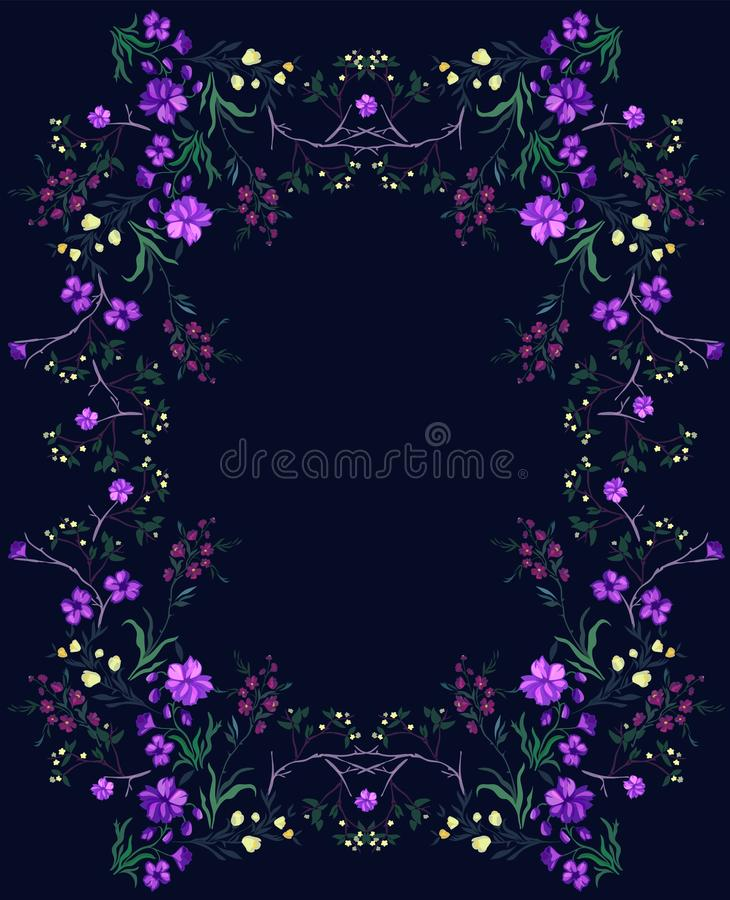 Het botanische patroon met kers en bloemen, vectormotieven voor stof drukt en borduurwerk royalty-vrije illustratie