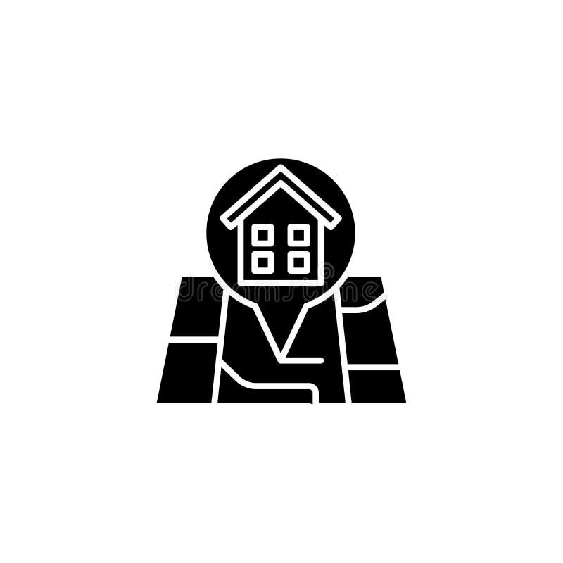 Het bouwconcept van het plaats zwarte pictogram Bouwplaats vlak vectorsymbool, teken, illustratie stock illustratie
