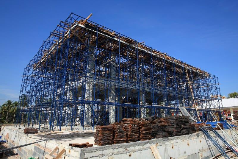 Het bouwterrein van de bouw in het frame van het Ijzer stadium royalty-vrije stock afbeelding