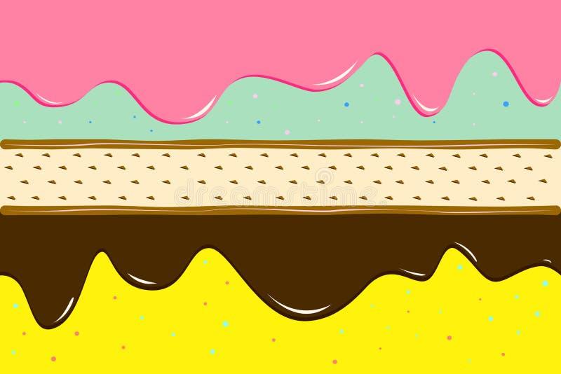 Het bovenste laagje van het koekjesroomijs met karamelillustratie royalty-vrije illustratie