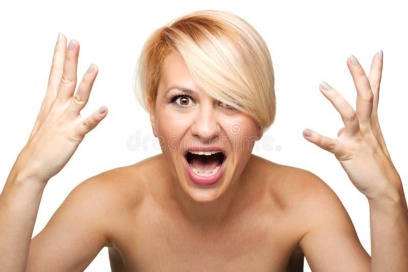 Het boze blonde meisje gillen royalty-vrije stock foto's