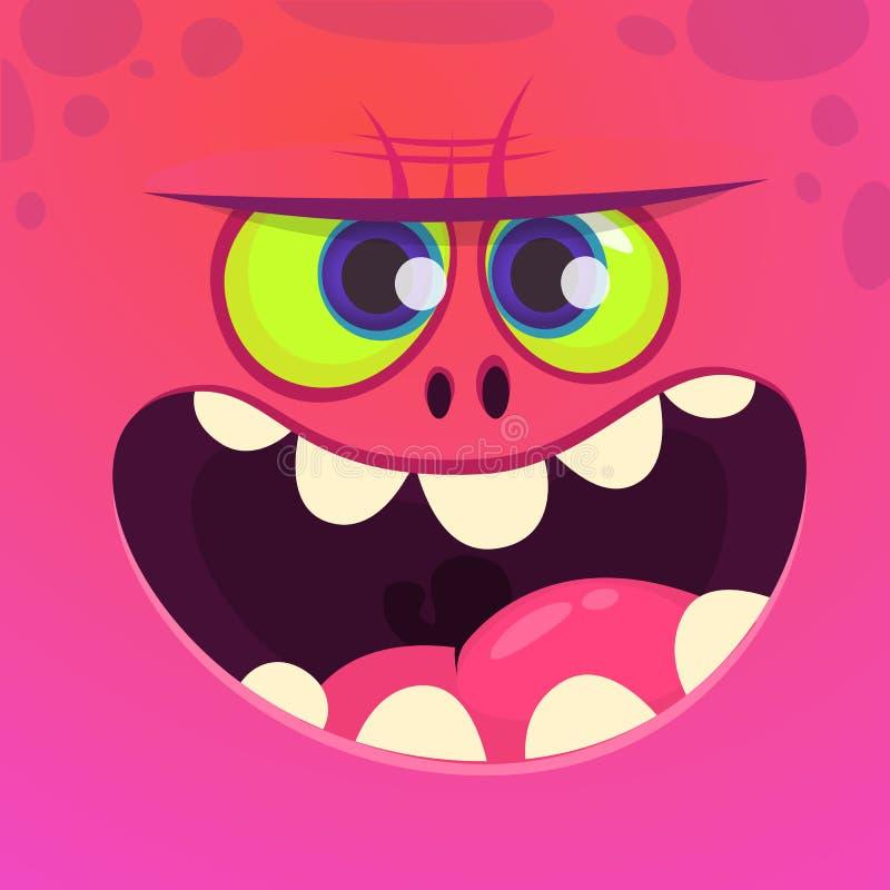 Het boze gezicht van het beeldverhaalmonster met grote glimlach Vector roze het monsterkarakter van Halloween vector illustratie