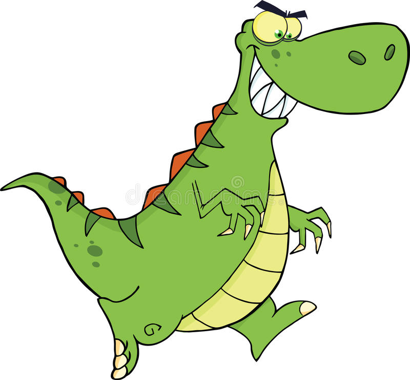 Het boze Groene Dinosauruskarakter Lopen royalty-vrije illustratie