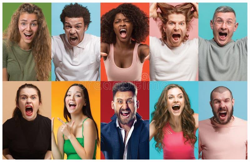 Het boze mensen gillen De collage van verschillend menselijk gelaatsuitdrukkingen, emoties en gevoel van jonge mannen en vrouwen royalty-vrije stock foto's