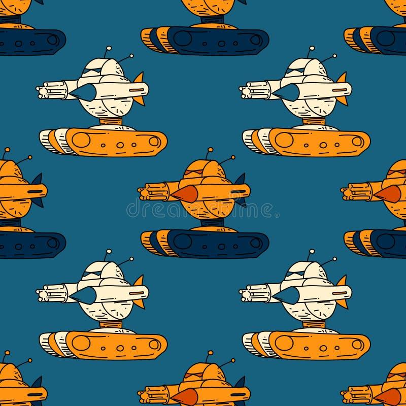 Het boze naadloze patroon van de robottank royalty-vrije illustratie