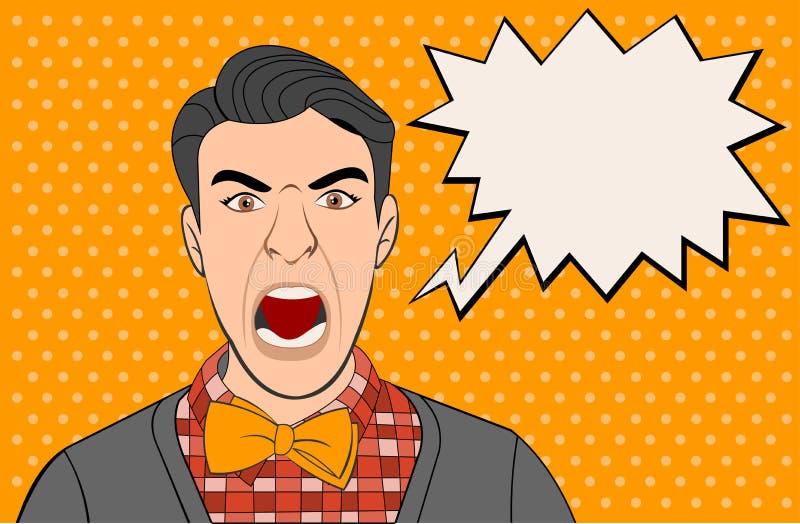Download Het boze retro mens gillen vector illustratie. Illustratie bestaande uit schreeuw - 54085864