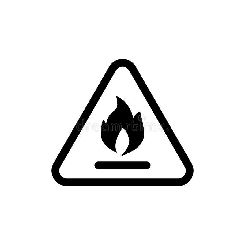 Het brandbare pictogram van de symboollijn Vectordieillustratie op wit wordt geïsoleerd het ontwerp van de overzichtsstijl, voor  stock illustratie