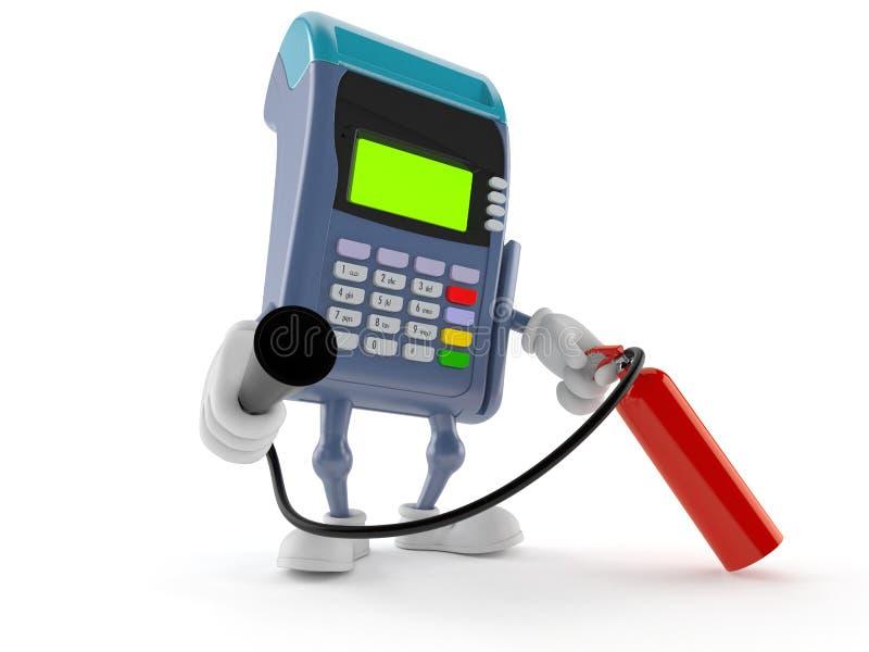 Het brandblusapparaat van de het karakterholding van de creditcardlezer royalty-vrije illustratie