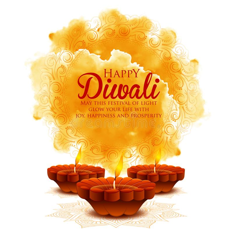 Het branden diya op gelukkige Diwali-Vakantieachtergrond voor licht festival van India royalty-vrije illustratie