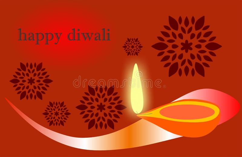 Het branden diya op gelukkige Diwali-Vakantieachtergrond voor licht festival van India Creatieve Diwali, royalty-vrije illustratie