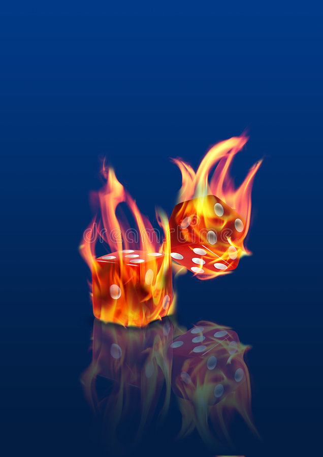 Het branden dobbelt stock fotografie