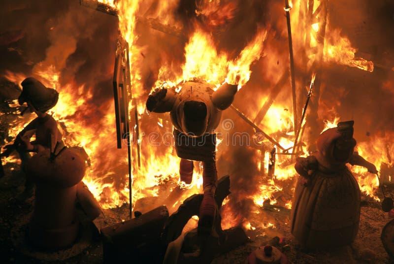 Het branden Fallas stock foto