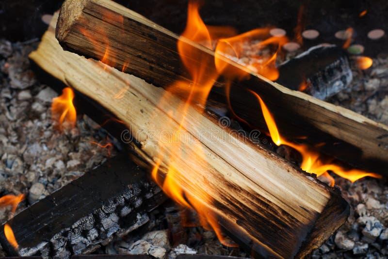Het branden firewoods stock foto