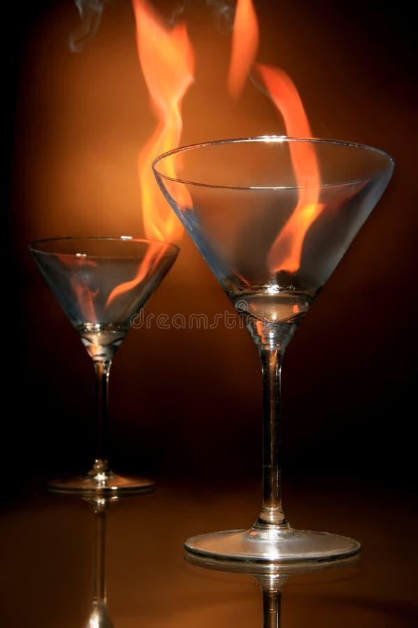 Het branden glasess stock afbeeldingen
