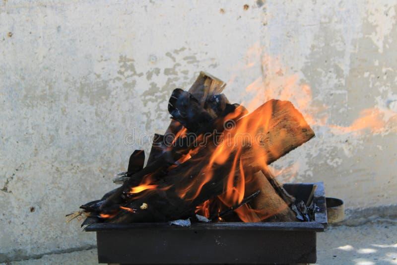 Het branden ogenblik van brandhout die van barbecue genieten bij picknick stock afbeeldingen