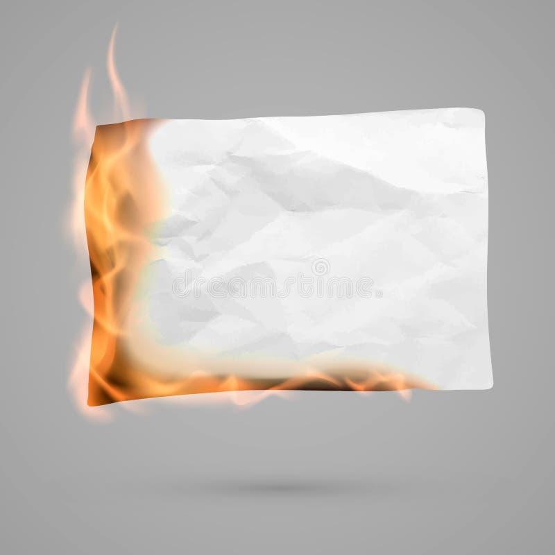 Het branden stuk van document met exemplaarruimte verfrommelde document spatie Verfrommelde document textuur in brand Vector stock illustratie
