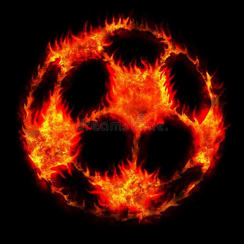 Het branden van de bal van de voetbalvoetbal stock foto's
