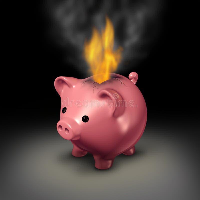 Het branden van geld stock illustratie