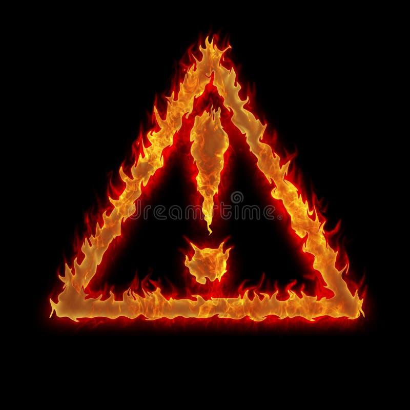 Het branden van het teken van de driehoeksvoorzichtigheid royalty-vrije stock foto