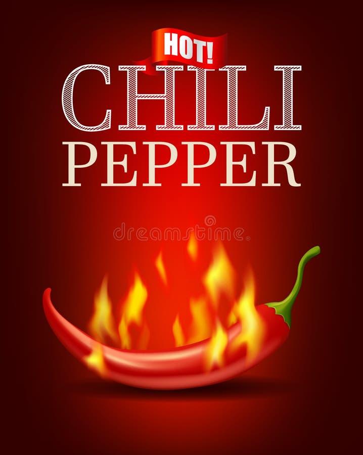 Het branden van hete Spaanse peperpeper met vlam op rode achtergrond, bittere kruidige heet vector illustratie