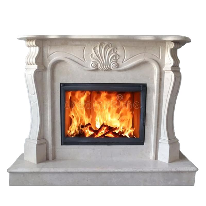 Het branden van klassieke open haard van wit marmer Geïsoleerd op wit royalty-vrije stock foto's