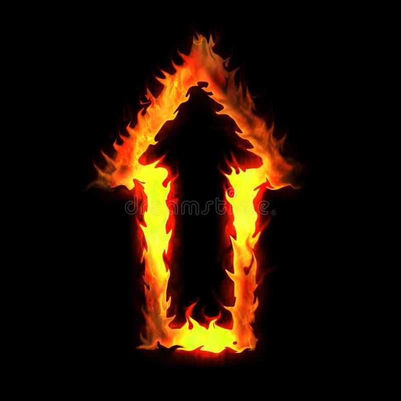 Het branden van pijl stock afbeeldingen