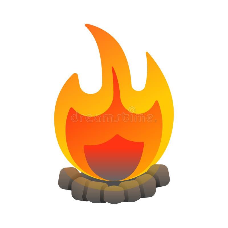 Het brandende campfire kleurige pictogram geïsoleerd op wit stock illustratie
