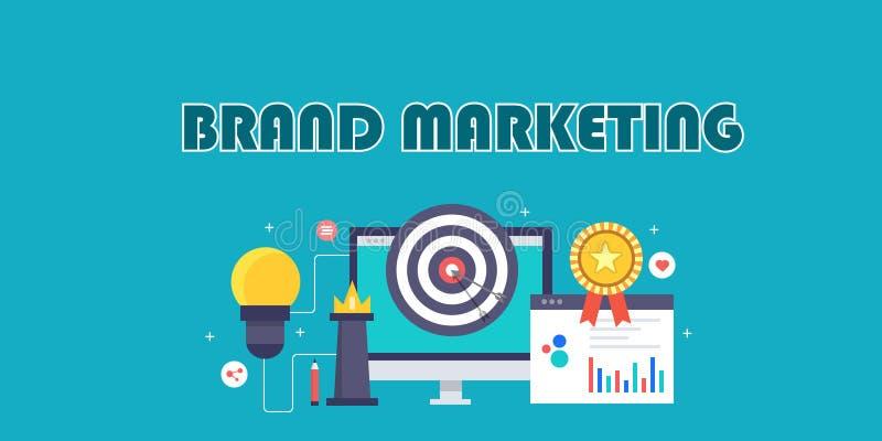 Het brandmerken marketing strategie, merkvoorlichting, reclameidee, media bevordering, sociaal voorzien van een netwerk, influenc vector illustratie