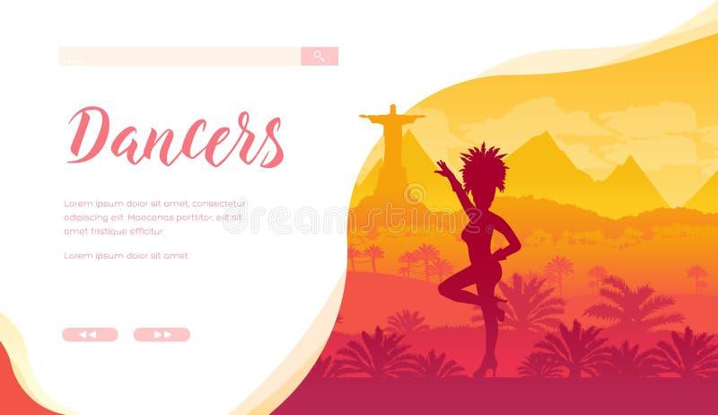 Het Braziliaanse malplaatje van het festival vectorlandingspagina stock illustratie