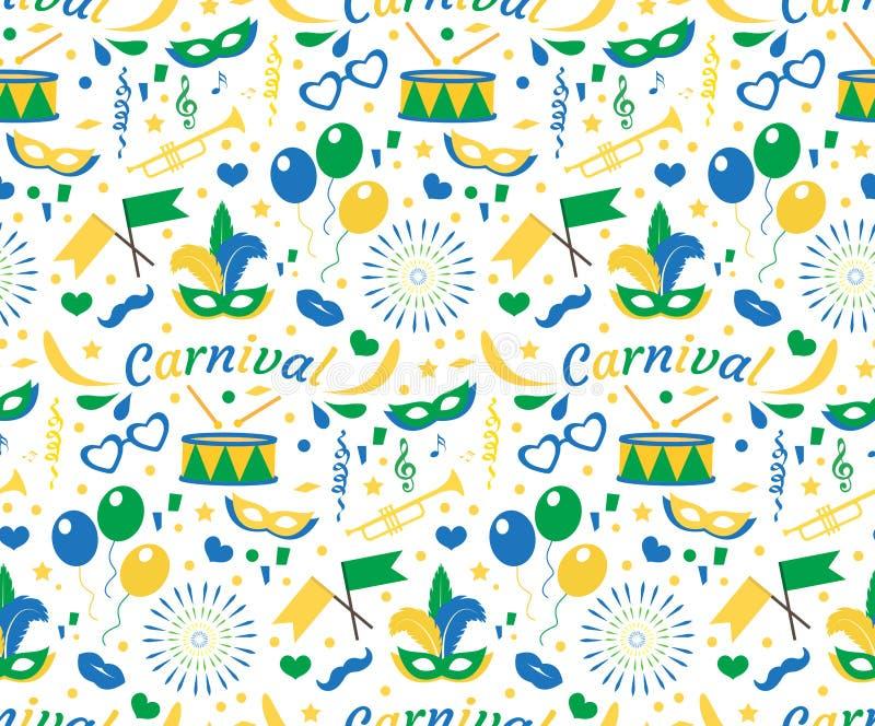 Het Braziliaanse naadloze patroon van Carnaval met maskerveren, confettien, ballons De eindeloze achtergrond van Brazilië, textuu vector illustratie