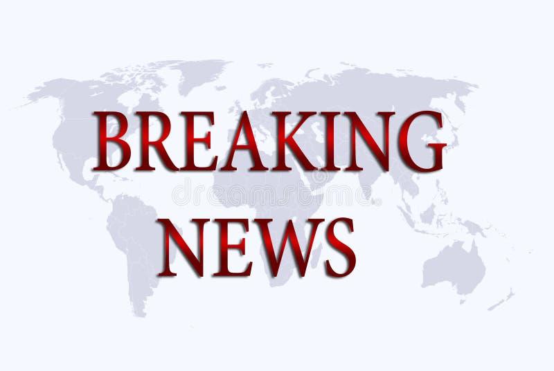 """het """"Breaking News† over wereldkaart vector illustratie"""