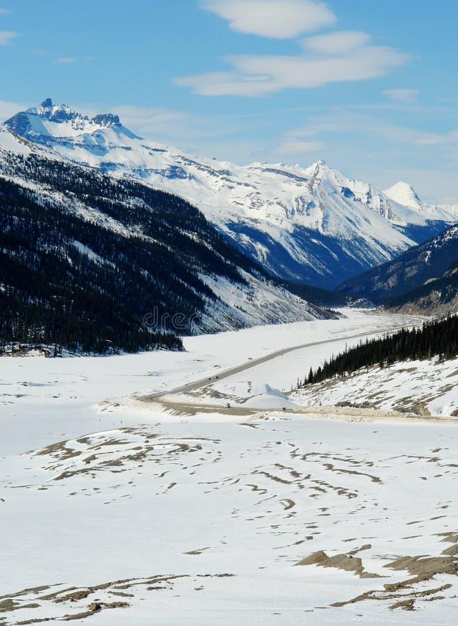 Het brede rijweg met mooi aangelegd landschap van de lente icefield royalty-vrije stock fotografie