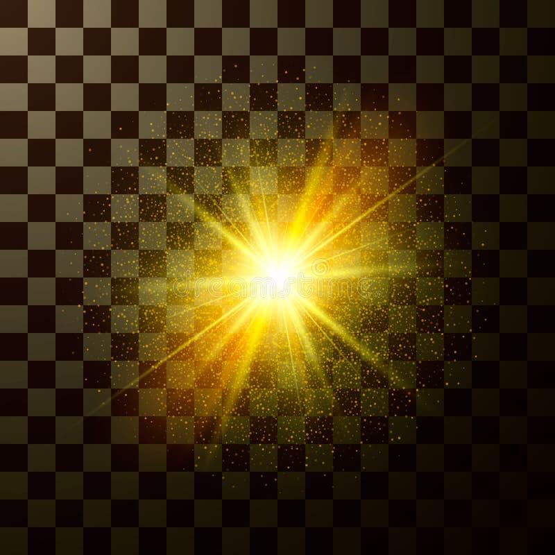 Het briljante ster glanzen Ontwerp magisch die licht met fonkelingen op transparante achtergrond worden geïsoleerd Mysticusflits  royalty-vrije illustratie