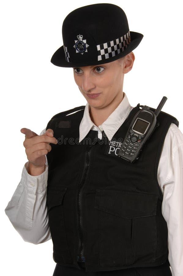 het Britse richten van de Politieman stock afbeelding