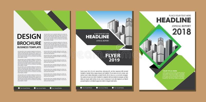 Het brochureontwerp, behandelt moderne lay-out, jaarverslag, affiche, vlieger in A4 met kleurrijke driehoeken, geometrische vorme royalty-vrije illustratie