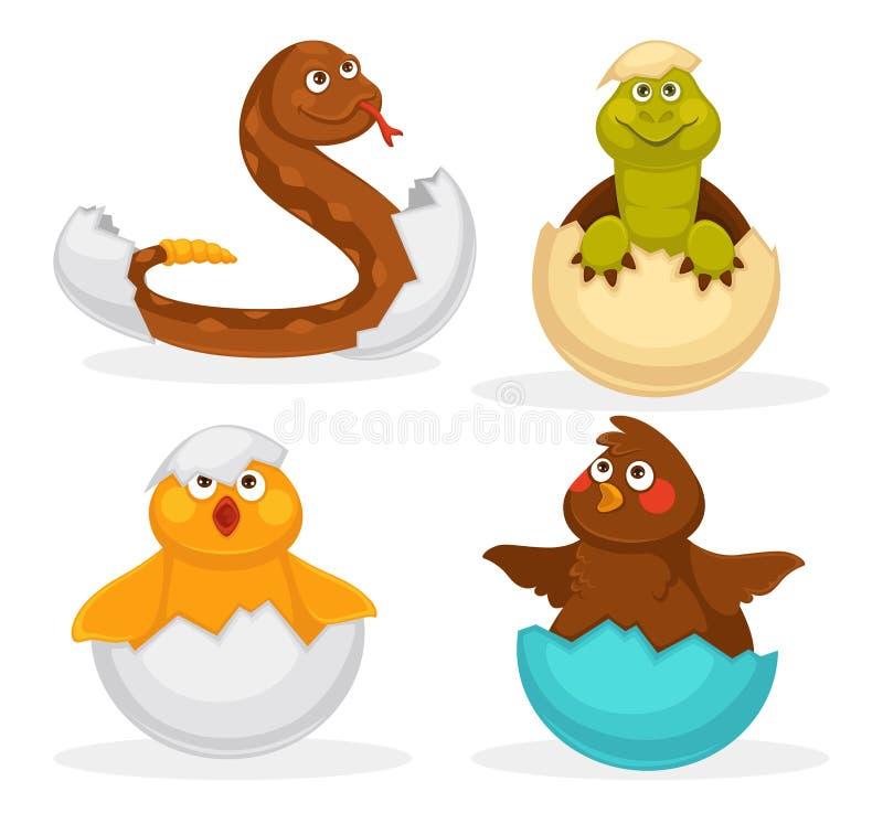 Het broedseleieren van babydieren of van beeldverhaalhuisdieren het uitbroeden Vector vlak geïsoleerde grappige stuk speelgoed pi stock illustratie